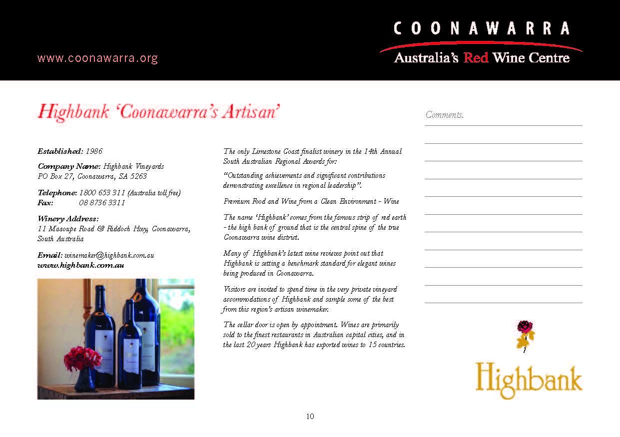 Highbank Coonawarras Artisan - COONAWARRA Booklet page10