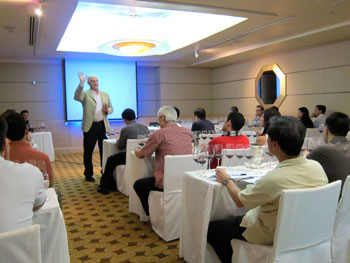 Dennis Vice conducting Cabernet Sauvignon Master Class at the Robert Parker event in Singapore