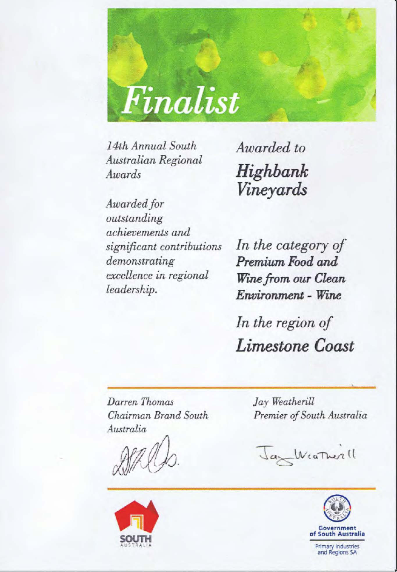 14th Aust Regional Award Premium Wine