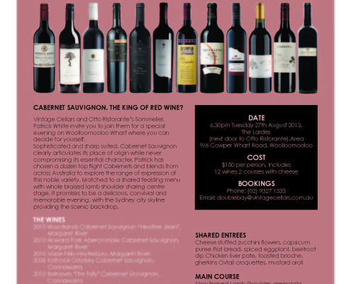 Vintage Cellars Top Flight Cabernets and Blends Tasting 2013 & Our News - Highbank Wines